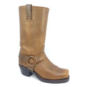 Frye Brown Leather Harness Square Toe Cavalry Boot